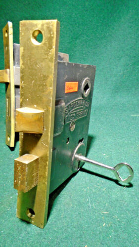 """#5644 SARGENT MORTISE LOCK with KEY - RECONDITIONED - FACEPLATE 6  1/16"""" (11501)"""