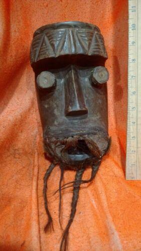 Bearded Grebo Mask with Tubular Eyes — Authentic Carved Wood African Art