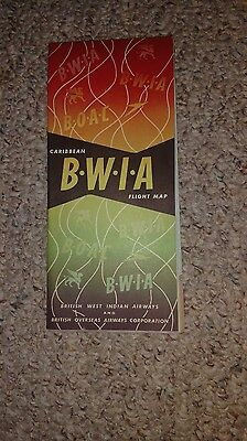 Vintage Airline Flight Map Bwia Caribbean 1960S 2 Sided