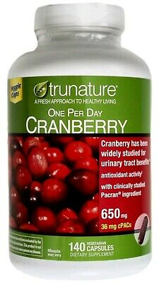trunature CRANBERRY 650mg, 140 Capsules ** Maintain Healthy Urinary Tract **  -