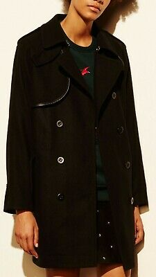 NWT Womens Coach Convertible Trench Coat Jacket Black Multi Wool Blend Size -