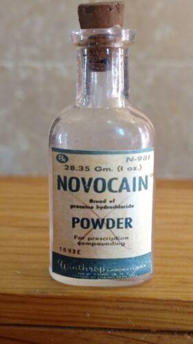 "Vintage Medicine Hand Crafted Bottle, Novocaine Powder, Empty, 3"""