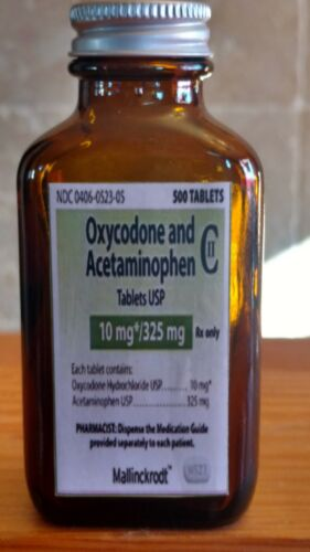 Medicine Hand Crafted Bottle, Oxycodone,Acetamin 10 mg. EMPTY NOT PRESCRIPTION