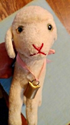 Antique Steiff Stuffed Toy Lamby Lamb Green Eyes Chest Tag Bell Pink Ribbon