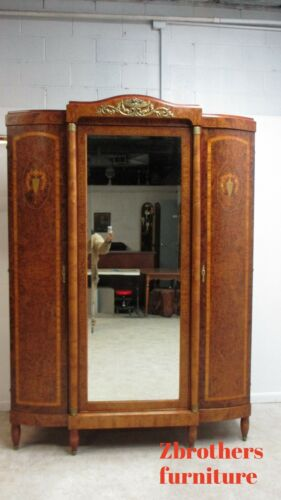 Antique French Inlay Brass Ormulu Wardrobe Armoire Cabinet
