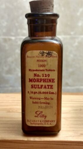 """Vintage Medicine Hand Crafted Bottle, Morphine Sulfate, Lilly 129 (Empty) 4"""""""