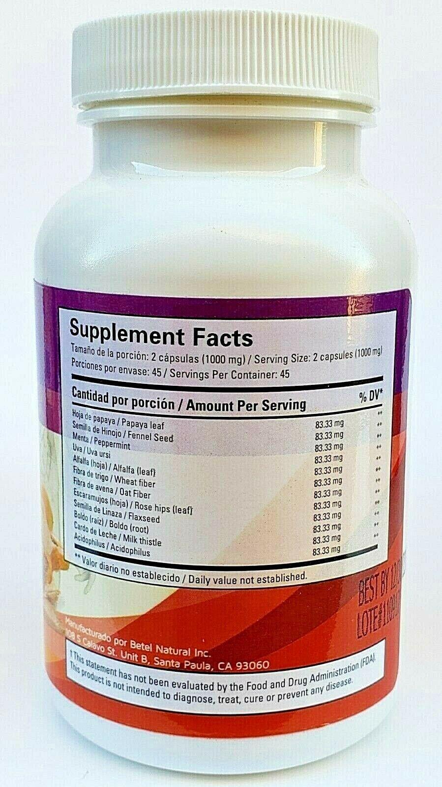 3 Packs DETOXSAN 270 Capsules 1000 mg per Serving Support Detox Cleanse Betel 9