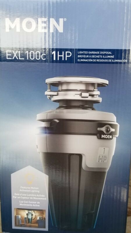 Moen EXL100C 1 HP Continuous Feed, Lighted Garbage Disposal, NEW