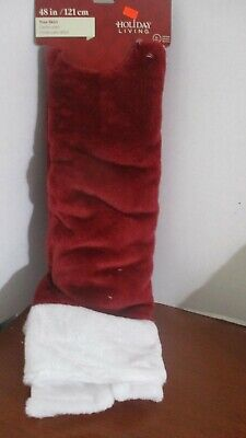 "HOLIDAY LIVING~Burgundy (Dark Red) 48"" TREE SKIRT w/ FLOCKING~NWT"