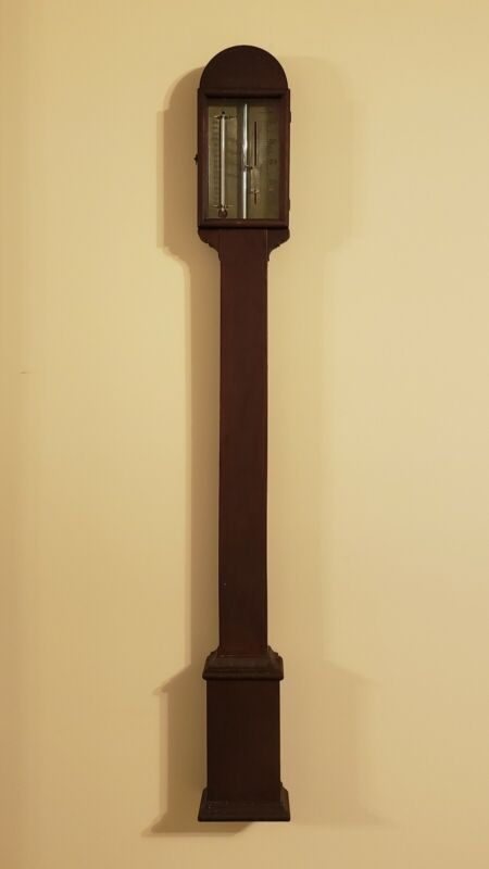 19th c. American N.H. Mahogany Stick Barometer Charles Wilder Woodruff