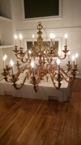 "CLASSIC CHANDELIER BRASS 16 LIGHTS WORKING LARGE 42""-45"" WIDE 32"" TALL  GORGEOUS"