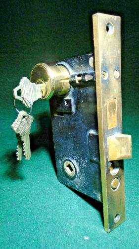 VINTAGE: CORBIN #1341 ENTRY LOCK w/CYLINDER & KEYS, 1941 CATALOG (12499)