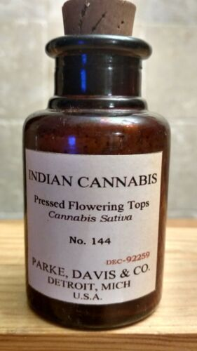 Vintage Medicine Hand Crafted Bottle, Indian Cannabis Sativa, Park Davis No. 144
