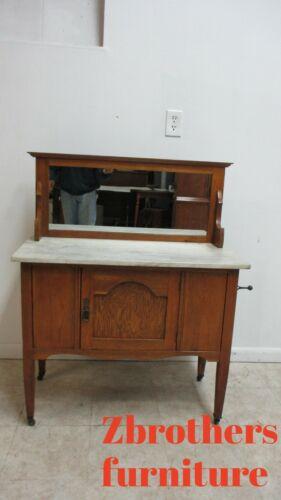 Antique Oak Petite Server sideboard Bar Cabinet  Marble Top English Mirror Back