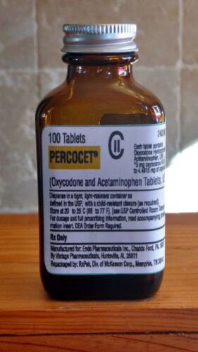 Vintage Medicine Hand Crafted Bottle, Percocet, Oxycodone EMPTY