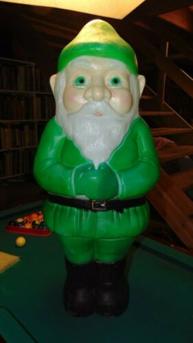 """Vintage Blow Mold ELF Christmas Green Plastic Gnome 1990 28"""" Holiday Decoration"""