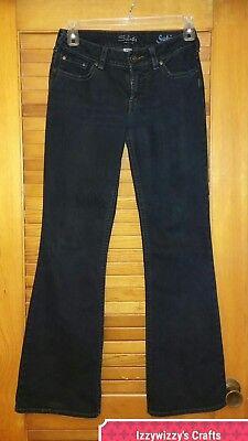 Polyester Flared Jeans Cut Pants (Silver Jeans 29/32 Suki Boot flare Cut super dark blue pants EUC  )