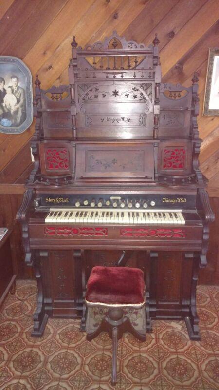 Story &Clark Antique Pump Organ- Works!! $400