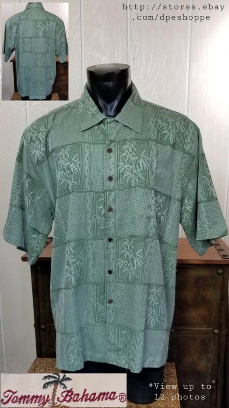 Tommy Bahama Silk Sage Green Bamboo Jacquard Button Up Shirt Sz XXL Chest 51-1/2