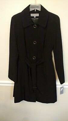 Ladies Anne Klein Black Trench Coat XL new, tag on $60, free shipping