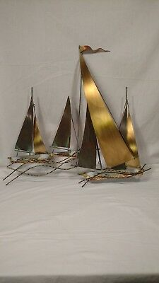 Vintage C. Pere Brass Sailboats Mid Century Art Piece with Colors, Signed