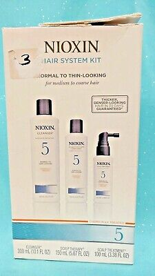 Nioxin 5 THINNING HAIR KIT Chemically Treated Cleanser Scalp Therapy & Treatment