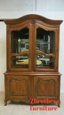 Ethan Allen Country French China Cabinet Breakfront Hutch Display