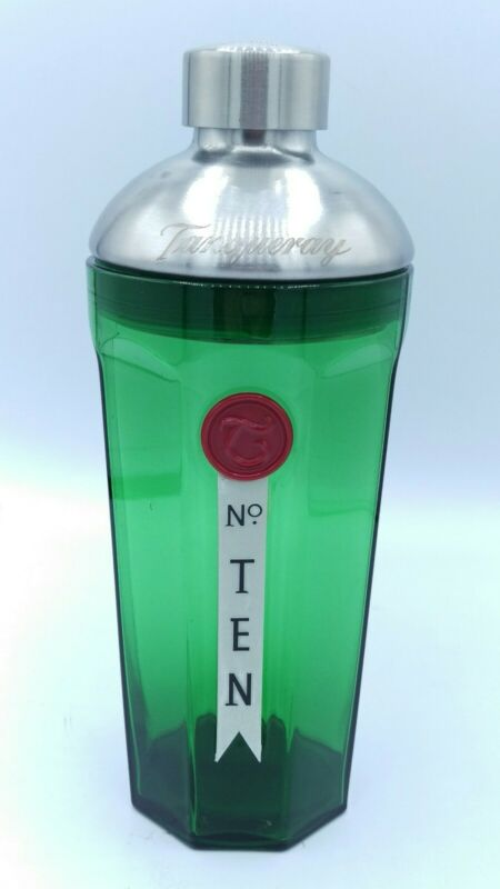 Tanqueray No. Ten Gin Green Glass Cocktail Shaker Metal Cap and Etched Lid