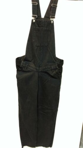 WOMENS MATERNITY DUNGAREES VINTAGE BLACK DENIM JUMPSUIT STRAIGHT LEG OVERALLS 8