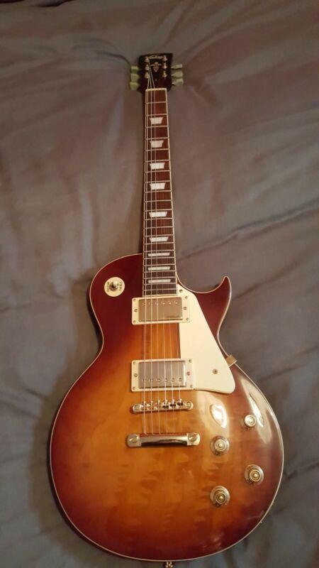 Vintage V100 Tobacco Sunburst Electric Guitar Les Paul Wilkinson Pickups