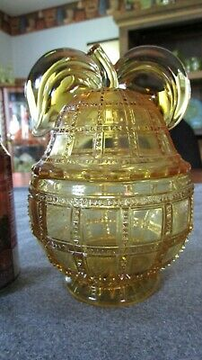 RARE IMPERIAL GLASS AMBER #710 BEADED BLOCK PEAR SHAPED COVERED CANDY DISH