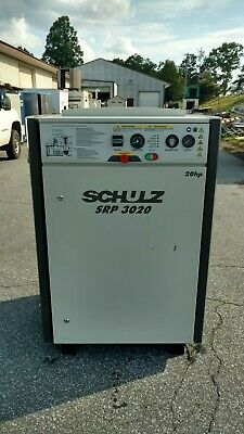 Used 20 Hp Schulz Rotary Screw Air Compressor Enclosed W Computer 230460 Volt