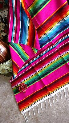 "Mexican Serape blankets Pink,Fuchsia Multi color Rainbow EXTRA LARGE 84"" X 60"""