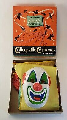 Vintage Collegeville Clown Halloween Costume Mask Suit Hat Child Medium Creepy