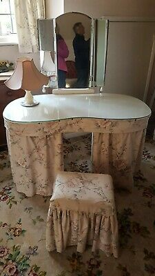 Vintage Retro Glass Topped Kidney Shape Dressing Table - Mirror, Curtains, Stool