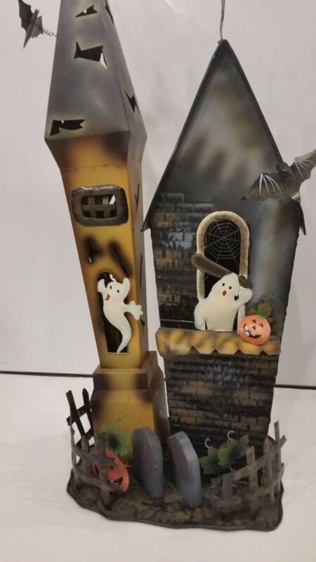 "Vintage Hollow Metal Tin Halloween Ghost Witch Haunted House Towers 33"" Decor"