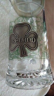 Ireland Irish Glass Beer Stein Mug Pewter - Irish Beer Stein