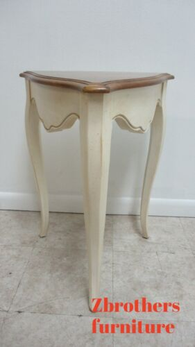 ETHAN ALLEN  French Country Distressed High Leg End Table Night Stand Triangle