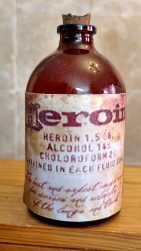 Vintage Medicine Hand Crafted Bottle, Heroin Bottle