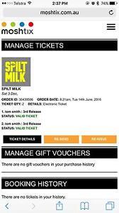 Spilt milk tickets x2 $250 Penrith Penrith Area Preview