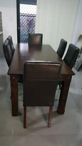 Far pavillions dining table and leather chairs Ellen Grove Brisbane South West Preview