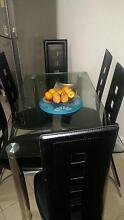 6 leather chairs and glass dining table set Bexley North Rockdale Area Preview