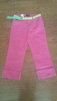 Izod Jeans Pink Bull Stretch Denim Crop Pants Size 8 Belted Cuffed Capri