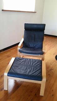 Leather IKEA Poang chair and foot stool Castle Cove Willoughby Area Preview