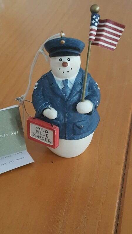 Resin Air Force Military Pilot Snowman Ornament  New Seasons Of Cannon Falls