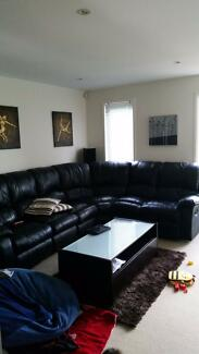 6 Seater Genuine Leather Lounge with 2 recliners (Black) Northgate Port Adelaide Area Preview