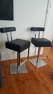 Black and silver bar chairs