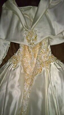 Wedding Dress Ivory Handmade Vintage Size 10 Modest With Train Pearls Sequins