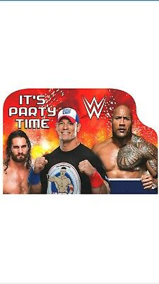 WWE WRESTLING BASH INVITATIONS (8) ~ Birthday Party Supplies Stationery Cards