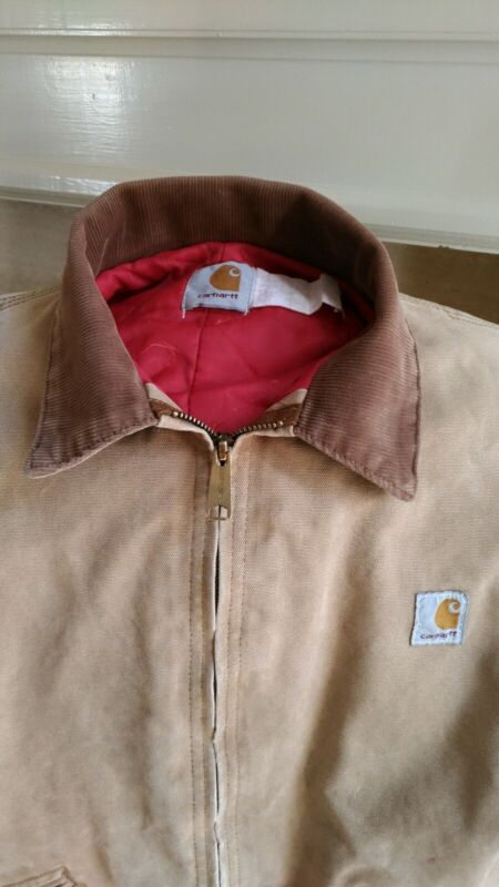 Vintage Carhartt Youth Boys Brown Canvas Coat Jacket  Size 14 Insulated